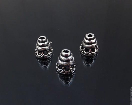 """Для украшений ручной работы. Ярмарка Мастеров - ручная работа. Купить Шапочка """"Конус"""" из серебра /8х8 мм/. Handmade."""