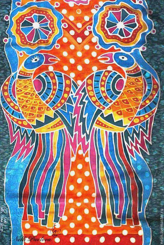 Шарфы и шарфики ручной работы. Ярмарка Мастеров - ручная работа. Купить Шарф Раиские птицы. Handmade. Комбинированный, атласный шелк