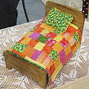 Куклы и игрушки ручной работы. Ярмарка Мастеров - ручная работа Кроватка для зверюшки или куклы (яркий комплект). Handmade.
