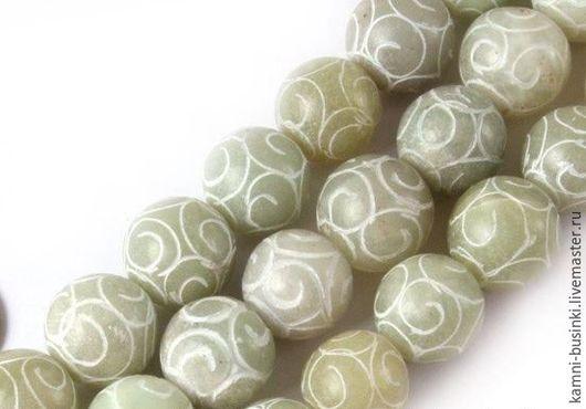 Для украшений ручной работы. Ярмарка Мастеров - ручная работа. Купить Нефрит резной мята бусина шар. Handmade.