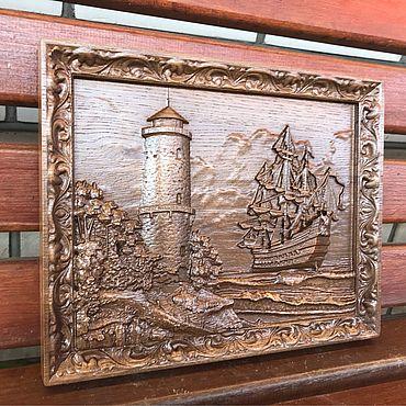 Картины и панно ручной работы. Ярмарка Мастеров - ручная работа Панно «Маяк с кораблем». Handmade.