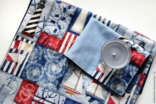 Текстиль, ковры ручной работы. Ярмарка Мастеров - ручная работа. Купить Маяки (набор из 6 салфеток). Handmade. Голубой, скатерть