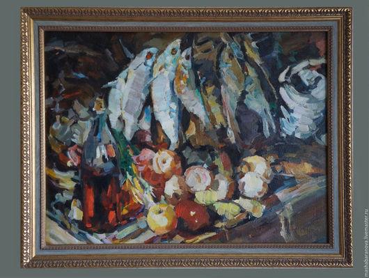 """Натюрморт ручной работы. Ярмарка Мастеров - ручная работа. Купить копия картины К. А. Коровина """" Рыбы, вино и фрукты"""".. Handmade."""