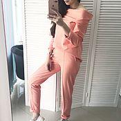 Одежда ручной работы. Ярмарка Мастеров - ручная работа Уютный костюм в персиковом цвете. Handmade.