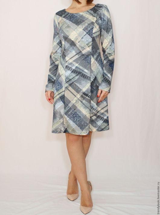 Платья ручной работы. Ярмарка Мастеров - ручная работа. Купить РАЗМЕР 46-48 Голубое платье с длинным рукавом,короткое платье в клетку. Handmade.