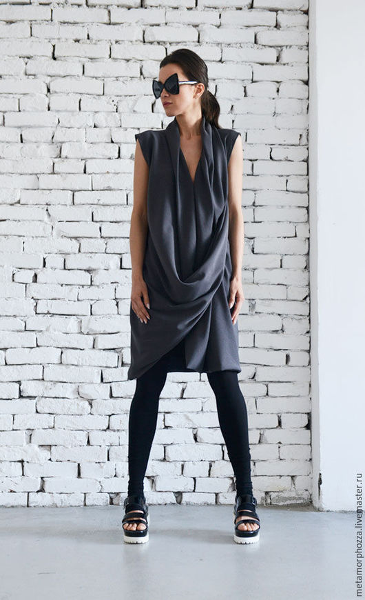 Платья ручной работы. Ярмарка Мастеров - ручная работа. Купить Короткое платье серого цвета. Handmade. Темно-серый