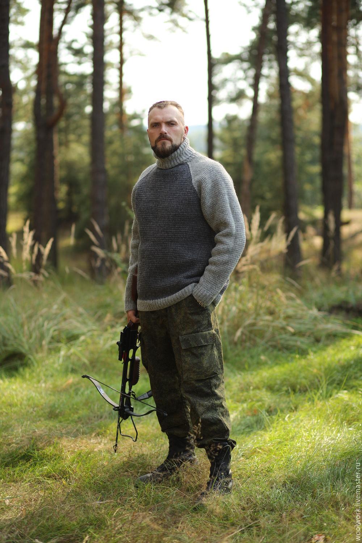 Вязаный мужской свитер  шерстяной  свитер ручной работы  серый свитер однотонный подарок для мужчины   из натуральной шерсти  для отдыха для охоты свитер теплый плотная вязка ручное вязание