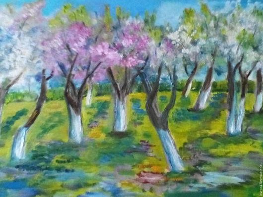 Пейзаж ручной работы. Ярмарка Мастеров - ручная работа. Купить Яблони в цвету. Handmade. Салатовый, масляные краски