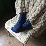 """Аксессуары ручной работы. Ярмарка Мастеров - ручная работа Носки из Альпаки """"Глубокий синий"""". Handmade."""