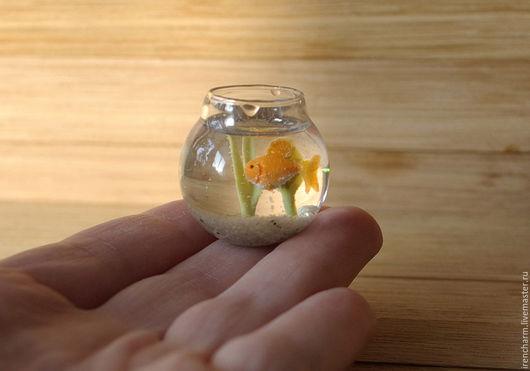 Кукольный дом ручной работы. Ярмарка Мастеров - ручная работа. Купить Аквариум (круглый) 1:12. Handmade. Рыбка, миниатюра