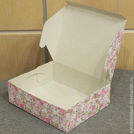 Упаковка ручной работы. Ярмарка Мастеров - ручная работа. Купить Коробка 24х19,5х7,5 см нежно-розовая с цветочным рисунком. Handmade.