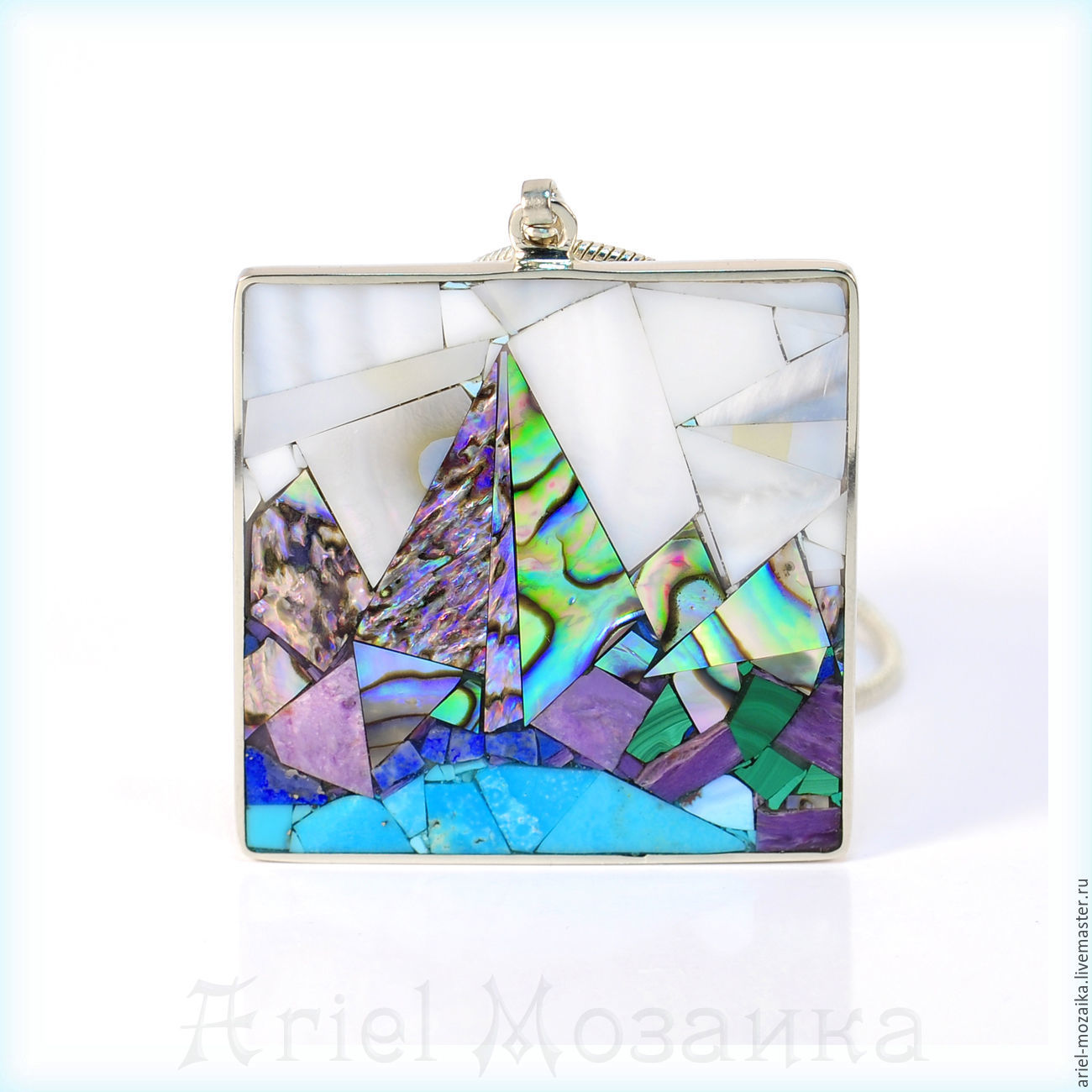 PENDANT `Landscape. The day of` ARIEL - Alena - Moscow MOSAIC Pendant with turquoise Pendant with mother of pearl Pendant with malachite Pendant with charoite Pendant Mosaic