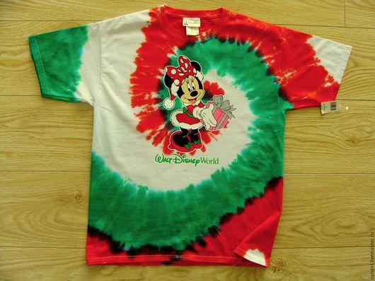 """Футболки, майки ручной работы. Ярмарка Мастеров - ручная работа. Купить Disney, футболка батик """"Минни Маус"""", оригинал, хлопок 100%, США. Handmade."""
