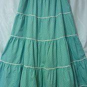 Одежда ручной работы. Ярмарка Мастеров - ручная работа Юбка хлопок-ситец Мелкий Горошек длина 87 см. Handmade.