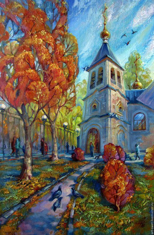 Город ручной работы. Ярмарка Мастеров - ручная работа. Купить Краски осени. Handmade. Комбинированный, холст на подрамнике, городской пейзаж