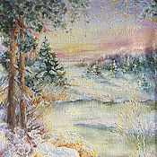 Картины и панно ручной работы. Ярмарка Мастеров - ручная работа Зимняя речка. Handmade.