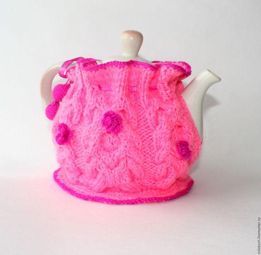 """Кухня ручной работы. Ярмарка Мастеров - ручная работа. Купить Грелка на чайник """"Малиновые цветы"""". Handmade. Розовый, шубка для чайника"""