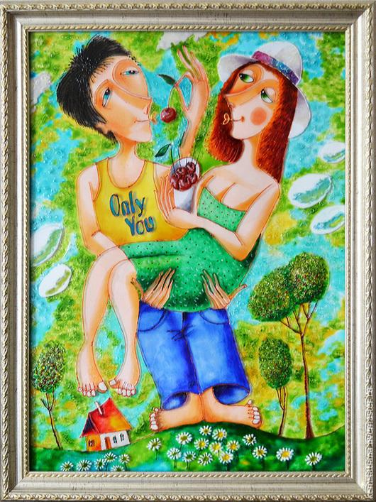 Фантазийные сюжеты ручной работы. Ярмарка Мастеров - ручная работа. Купить Любовь, лето, вишни. Handmade. Разноцветный, витражные краски