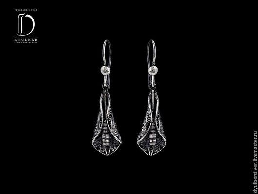 Серьги ручной работы. Ярмарка Мастеров - ручная работа. Купить Серьги в серебряной филиграни (модель ФД52). Handmade. Серьги