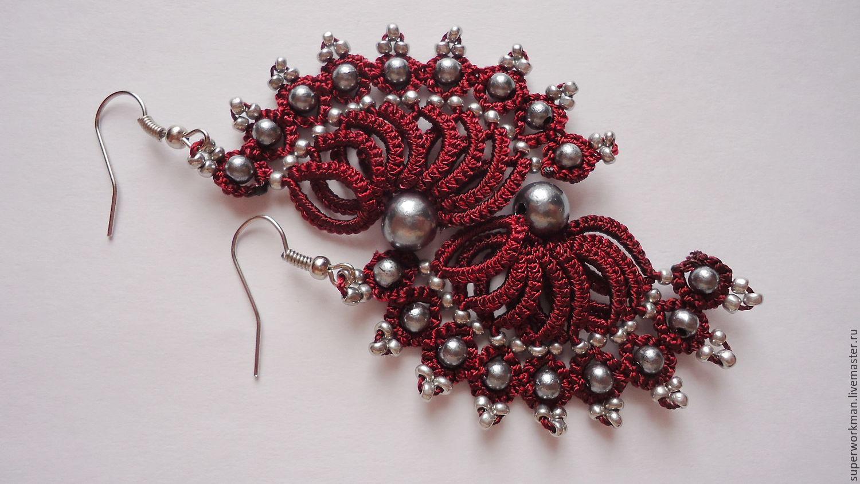 Earrings handmade. Livemaster - handmade. Buy Earrings tatting ' Bordeaux'.Lace, handmade earrings, buy earrings, handmade handmade