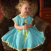 Работы для детей, ручной работы. Ярмарка Мастеров - ручная работа платье для девочки бирюзовое солнышко. Handmade.