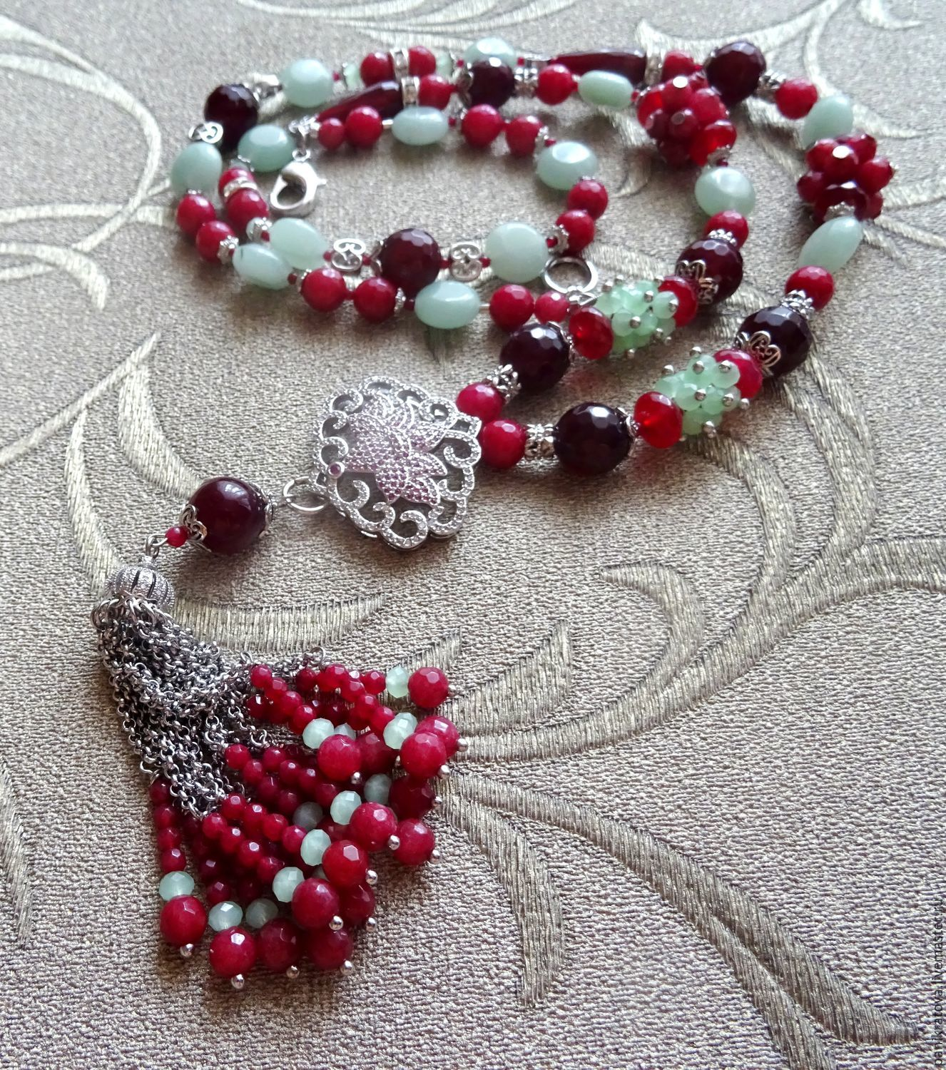 Necklace with pendant 'Royal Lotus' (ruby, agate, aventurine, accessories LUX), Necklace, Moscow,  Фото №1