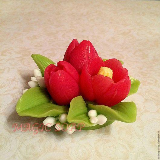 Мыло ручной работы. Ярмарка Мастеров - ручная работа. Купить мыло Тюльпаны. Handmade. Комбинированный, мыло в новокузнецке, 8 марта