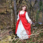 Одежда handmade. Livemaster - original item Red dress in the style of Medieval (medieval). Handmade.