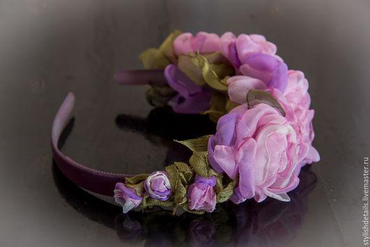 Повязки ручной работы. Ярмарка Мастеров - ручная работа. Купить ободок с цветами. Handmade. Цветочный, сиреневый, рустик, роза