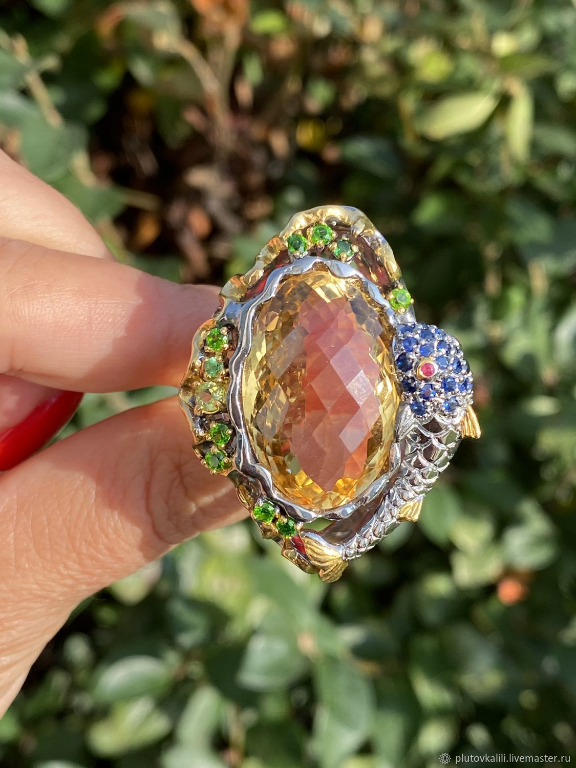 Exclusive ring with a large citrine FISH, Rings, Serpukhov,  Фото №1