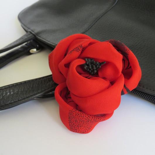 Заколки ручной работы. Ярмарка Мастеров - ручная работа. Купить Заколка Кармен. Handmade. Ярко-красный, роза, маковый цвет