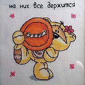 Для дома и интерьера ручной работы. Ярмарка Мастеров - ручная работа Вышивка крестом Мишки  Fizzy Moon, для мамы.. Handmade.