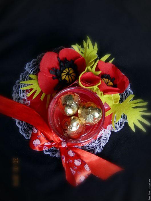 Персональные подарки ручной работы. Ярмарка Мастеров - ручная работа. Купить Цветы и конфеты для любимой. Handmade. Комбинированный, нитки вязальные