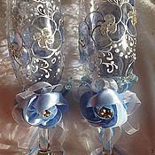 Свадебный салон ручной работы. Ярмарка Мастеров - ручная работа Бокалы нежность в голубом. Handmade.