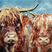 Pictures handmade. Livemaster - original item He and she oil Painting (cow and bull couple). Handmade.