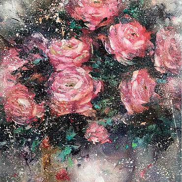 """Картины и панно ручной работы. Ярмарка Мастеров - ручная работа Картина розы в горшке """"Розы на окне"""" картина маслом. Handmade."""