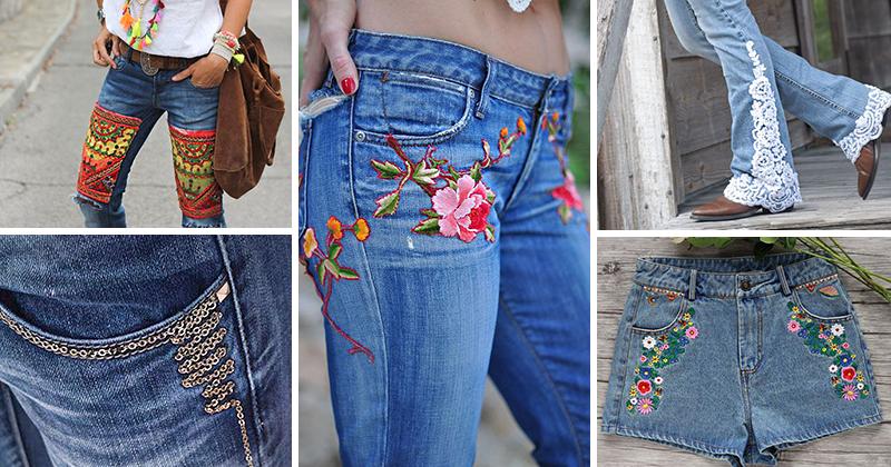 Как можно украсить джинсы своими руками фото женские поэтапно 97