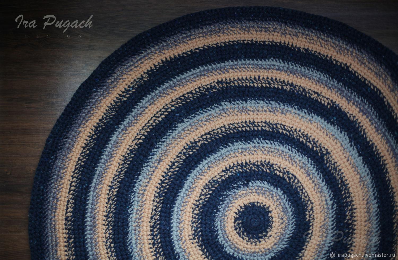 The round rug crocheted handmade blue beige gray – shop online on ...