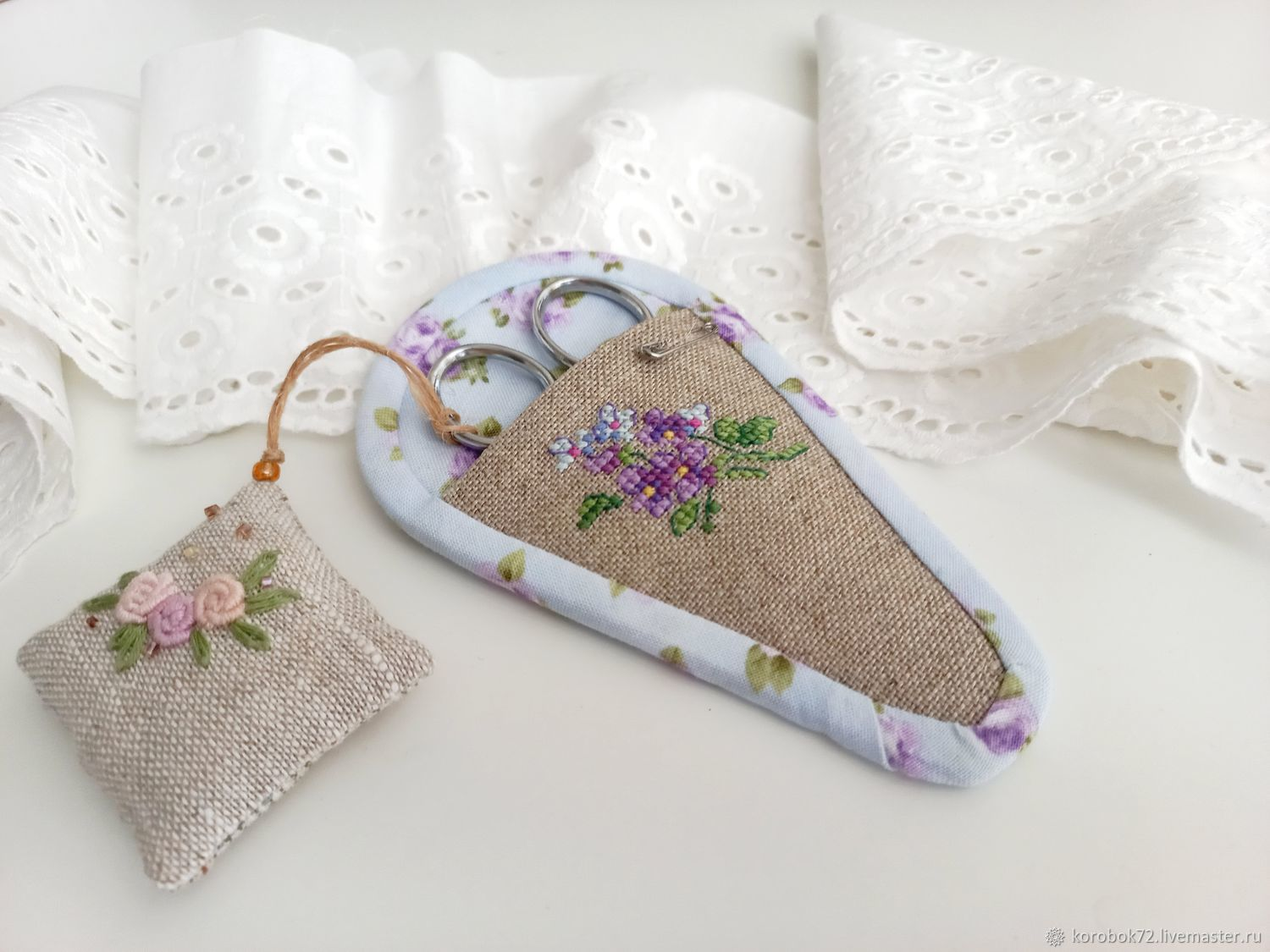 Case for scissors and mini needle holder hand embroidery, Storage of things, St. Petersburg,  Фото №1