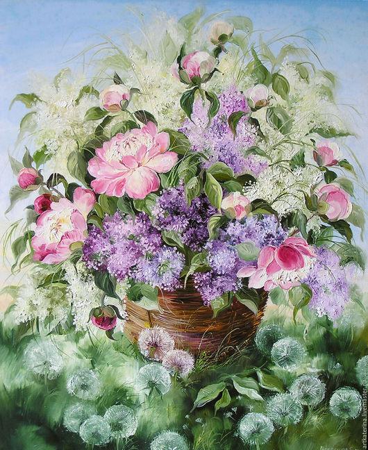 Картины цветов ручной работы. Ярмарка Мастеров - ручная работа. Купить Летний букет. Handmade. Сиреневый, розовый, пионы, цветы
