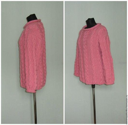 """Кофты и свитера ручной работы. Ярмарка Мастеров - ручная работа. Купить Вязанный  розовый джемпер"""" Коса косица"""". Handmade. Розовый"""