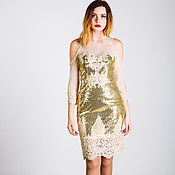Одежда handmade. Livemaster - original item Golden dress with white lace. Handmade.