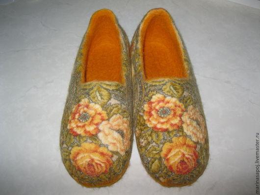 Обувь ручной работы. Ярмарка Мастеров - ручная работа. Купить Тапочки валяные Беседа. Handmade. Оранжевый, шерсть 100%
