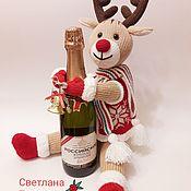 """Мягкие игрушки ручной работы. Ярмарка Мастеров - ручная работа """"Новогодний олень"""" интерьерная вязаная игрушка. Handmade."""
