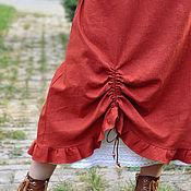 Одежда ручной работы. Ярмарка Мастеров - ручная работа Юбка льняная двухслойная. Handmade.