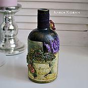 Посуда ручной работы. Ярмарка Мастеров - ручная работа Бутылка декоративная декупаж интерьерная черная цветы. Handmade.