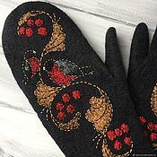 """Варежки """"Снегири"""" черные варежки женские рукавицы хохлома"""
