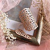 Украшения handmade. Livemaster - original item Leather wristband Cream lace II. Handmade.