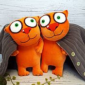Куклы и игрушки handmade. Livemaster - original item Vatnichek, soft toys plush red cat and cat in a padded jacket. Handmade.