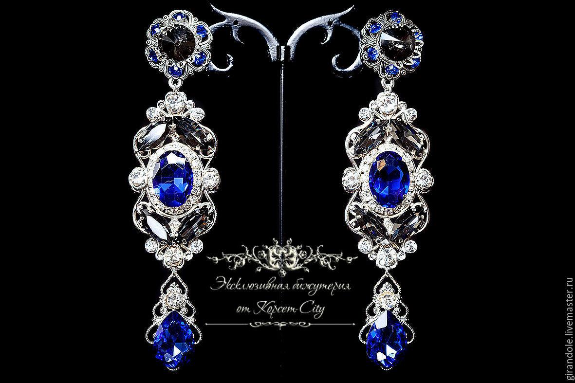 Серьги длинные «Jasmina» в стиле D & G серебро сине-черные, Серьги, Ростов-на-Дону, Фото №1